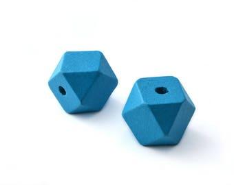 2 large 2cm Blue wood polygon beads