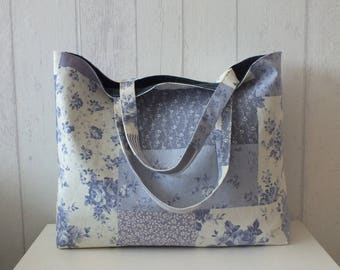 "Large hand bag in linen and cotton ""YUWA"" printed pink blue and purple."