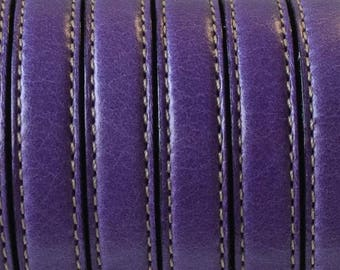 Flat leather with 1st quality stitching, Made in EU - 10 mm - purple - by 20cm - CP1016PUR263