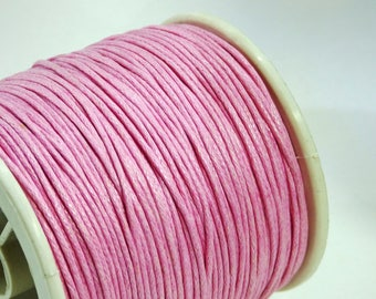 5 m of 1 mm light pink waxed cotton cord