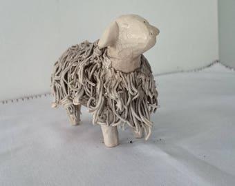 Sheep hand made white stoneware