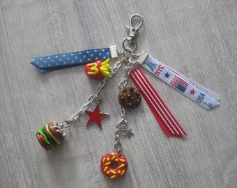 Key ring with decorations made of polymer clay + ribbons