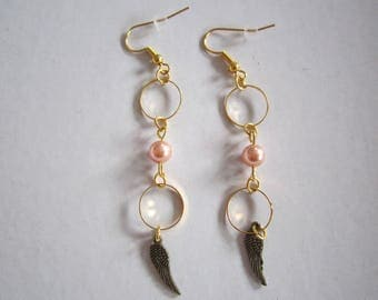 Angel wing earring and Swarovski Crystal