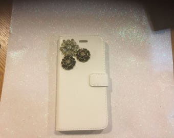 Handmade Blinged Iphone6 Flip open case. White