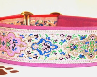 Dog collar Jacquard ribbon with an unique colourful ornaments in the most elegant design