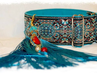 "Dog collar ""Blue crown"" Jacquard ribbon in unique colourful elegant ""Imperial"" style for pet accessories fashion"