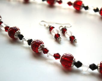 Red, Burgundy, Black, and Clear Crystal with Silver Necklace and Earrings set