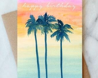Sunset Tropical Birthday Card, Happy Birthday Card, Palm Trees, Birthday Cards, Watercolor, Tropical Vacation card, Beach, Sunset Sky