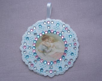 Wall decor for nursery - a mother and child - doily paper lace - pink rhinestones.