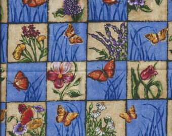 FLORAL fabric: Flowers & butterflies blue background (coupon 55 x 30 cm) 100% Cotton Patch