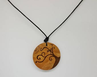 Tree reaching for the sun, wooden pendant, pyrography, woodburning, all natural, jewelry, necklace, wood, nature