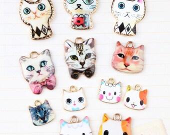 10pcs Cat Charms Kitten Charm Animal Charm Jewelry Pendant Kitten Jewelry Retro Cat Pendant Bracelet Neckalce Making DIY Jewelry Accessories