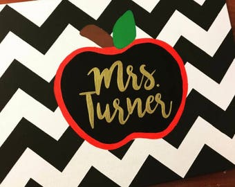 Personalized Chevron Apple Canvas Name Painting