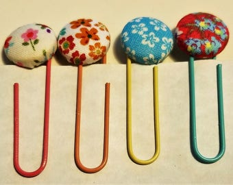 Fabric Button Bookmarks - Flowers