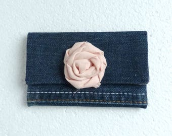 Wallet pink Denim recycled denim