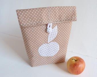 Bag snack Apple Beige cotton