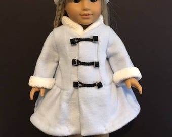 Blue coat and hat for 18 inch/American Girl doll