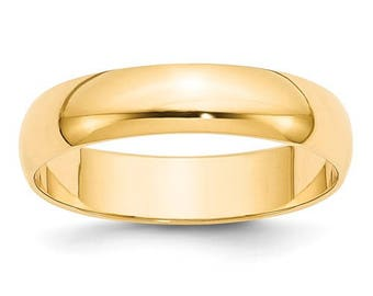 New 14K Solid Yellow Gold 5mm Men's and Women's Wedding Band Ring Sizes 4-14. Solid 14k Yellow Gold, Made in the U.S.A.