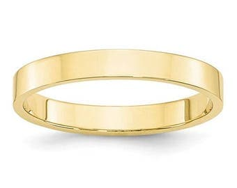 New 10K Solid Yellow Gold 3mm Flat Men's and Women's Wedding Band Ring Sizes 4-14 High Polished Stackable Thumb/ Knuckle Rings