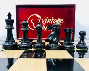 Staunton chess 6 weighted with Vintage chess box