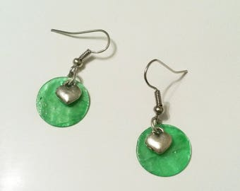 Green sequin and heart earrings