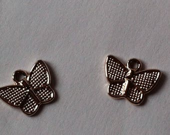 Set of 2 pendants Butterfly color rose gold