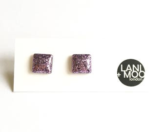 Square Purple Glitter Resin Stud Statement Earrings!