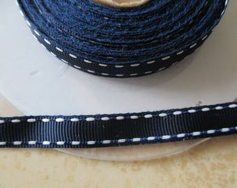2 m 1 cm Navy Blue Ribbon and white sailor style
