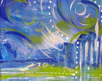 Blue, White, Green, Abstract Painting, Original Art, Acrylic Painting, Art, Fine Art, Contemporary Art, Modern Art, Art Decor, Wall Art, 6x6