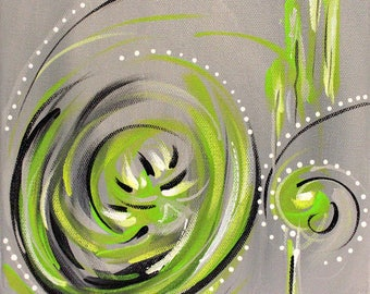 green, grey, abstract painting, original art, acrylic, fine art, wall art, art decor, contemporary art, modern art, painting on canvas, 8x8