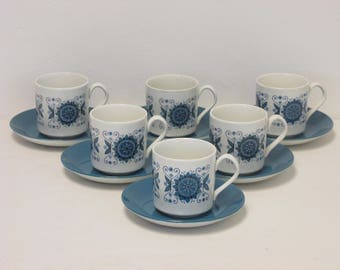 Retro 1960s/1970s Johnson Brothers Engadine Set of Six Cups and Saucers