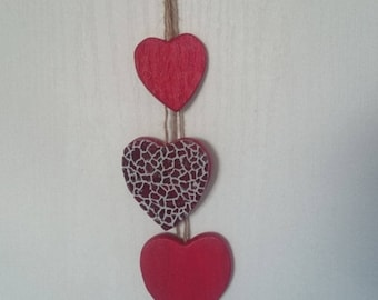 Hanging hearts red crackled mosaic