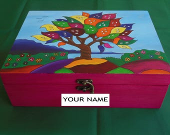 Mother's Day gift - Wooden jewelry box painted with the tree of life - Jewelry storage box - Jewelry storage - Wooden box