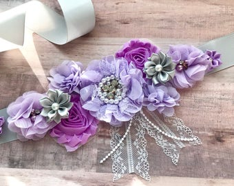 Maternity Sash Pregnancy Sash Gender Reveal Party Baby Shower Bridal Lavender Purple Photo Prop  Baby Shower Gift