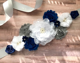 Maternity Sash, Blue, Gray and White, Baby Shower, Reveal Party, Photo Prop, Gift, Keepsake