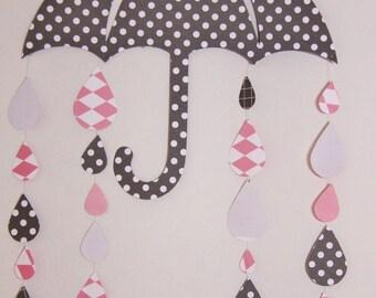 Umbrella and raindrops cardstock (gray and pink)