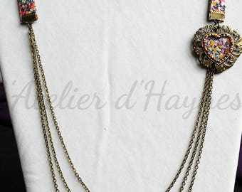 Floral liberty fabric necklace and triple bronze chain