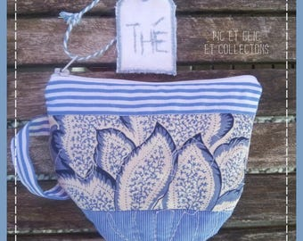 Kit Teacup, pouch, blue tones to order