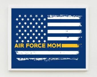Air Force Mom Art Print, Proud Mom, Military Wall Art, US Flag, Decor