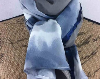 Long 60x140cm blue, gray and taupe scarf Aline
