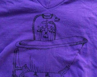 The Bathtub Shirt on Purple American V-Neck