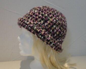 hand crocheted Heather purple wool hat