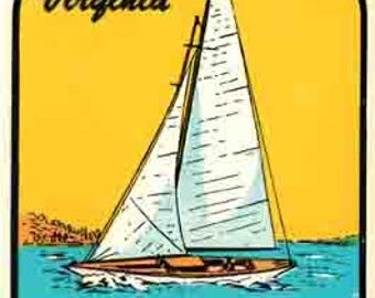 Vintage Style VA  Virginia Beach  sailboat  Travel Decal sticker