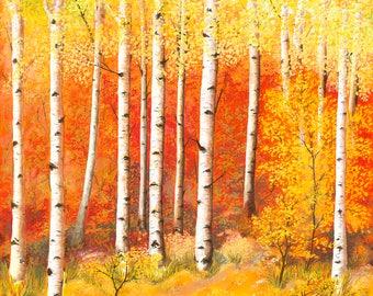 Blazing Autumn Original Oil Painting on Canvas