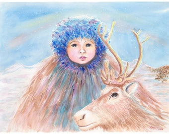 Reindeer Boy Original Watercolor Painting on Arches Paper