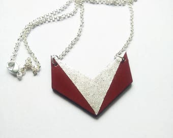 Chevron necklace wood hand-painted red and silver glitter