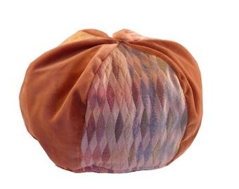 Beret Hat bi color flesh and printed material