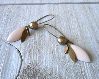Bronze earrings, powder pink enameled sequin and glass bead