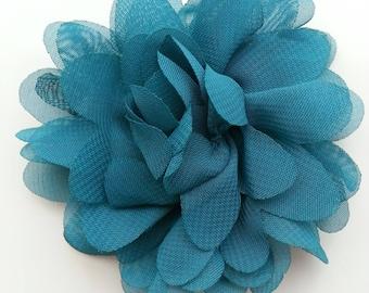 applique fleur bleu / vert     75mm