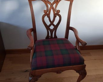 Ball and claw ornate wooden tartan chair